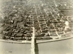 Aerial view of Burnside and Harbor Wall 1929