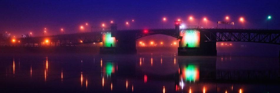 The Morrison Bridge in Portland, Oregon