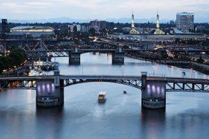 Morrison Bridge and Rose Festival Fleet